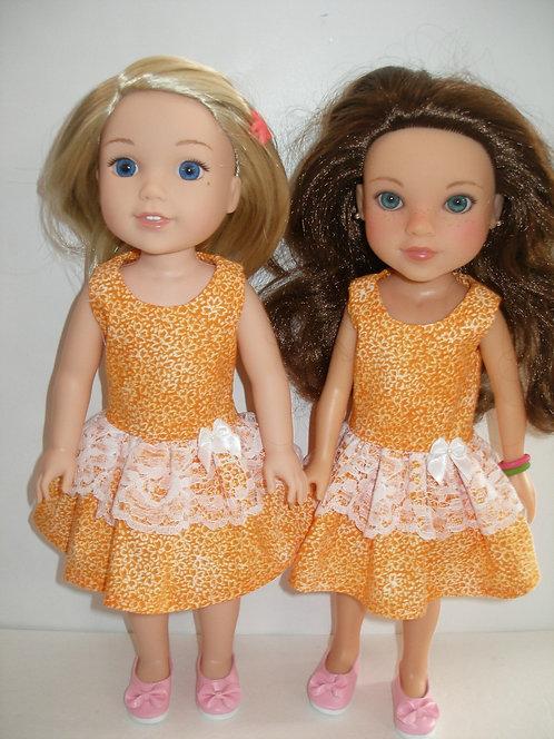 WW - Orange Floral Dress w/Lace