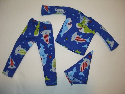 Elf Blue Shark PJ Set