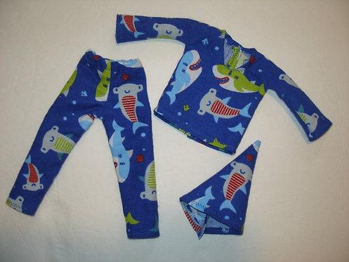 Elf Blue Shark PJ Set