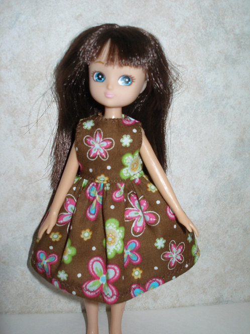 Lottie - Brown, Green and Pink Floral Dress
