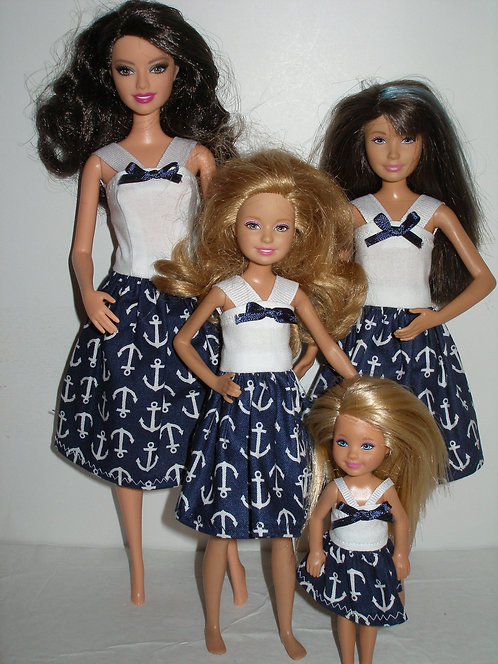 Navy and White Anchor Dresses - Sister Set