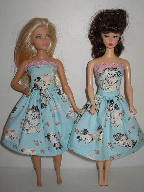 Blue puppies and kittens print dress
