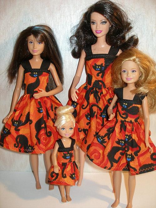 Orange and Black Cat Sister Set