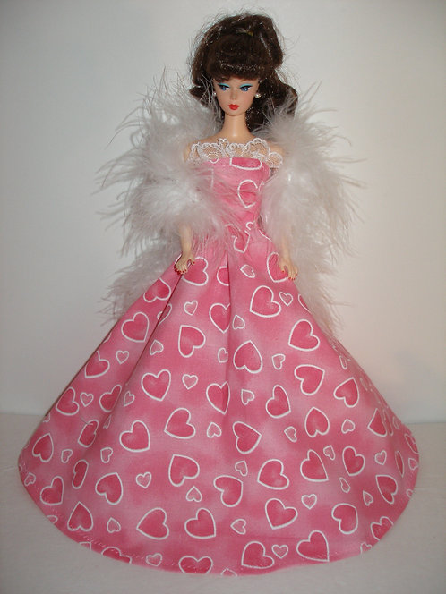 Pink Harts Gown w/White Boa