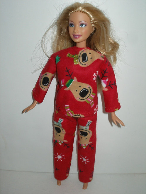 "11.5"" fashion doll Christmas Print  PJ's"