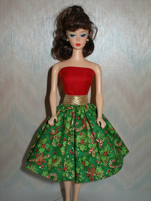 Christmas Candy Canes & Holly Print Dress