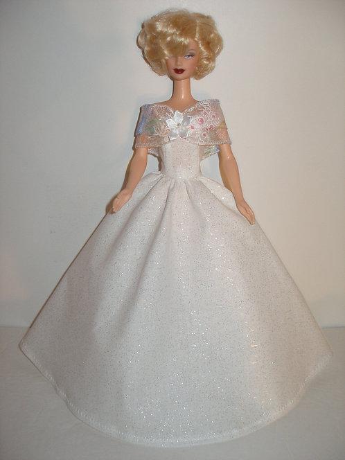 White Glittery Gown w/Ribbon Shoulder Wrap
