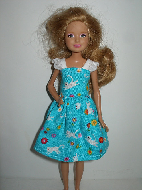 Stacie/Bratz Blue and White Cats Dress