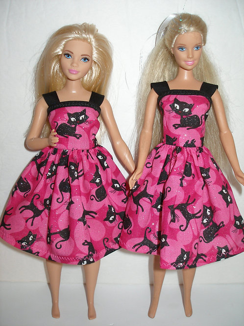 Pink and Black Cat Dress - More Dress Sizes