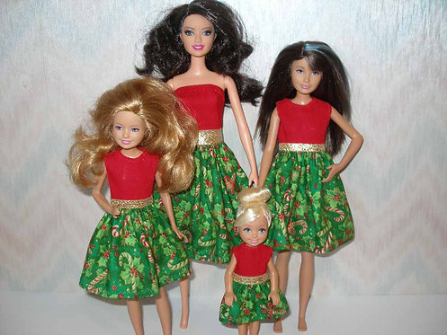 Green and Red Candy Cane Sister Set