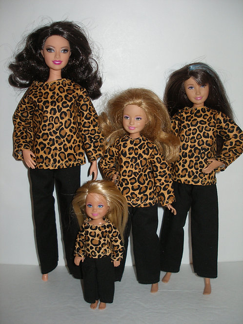 Brown/Black Animal Print Outfit - Sister Set of 4