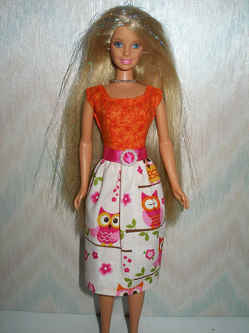 Orange and Pink Owl Dress