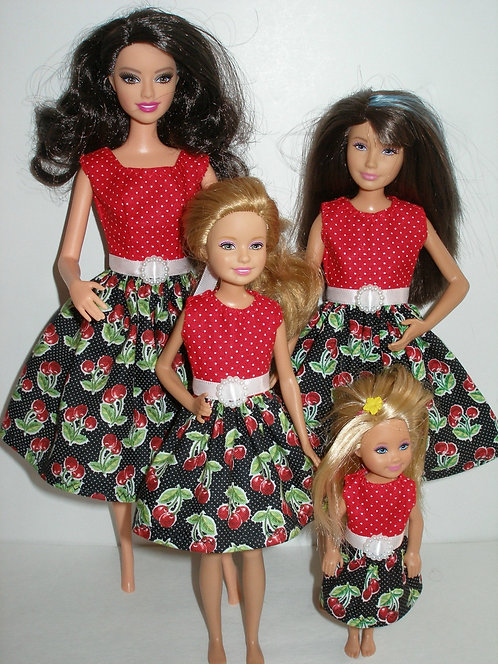 Red Cherry Dresses Sister Set