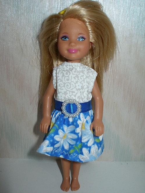 Chelsea - Blue and White Daisy Dress
