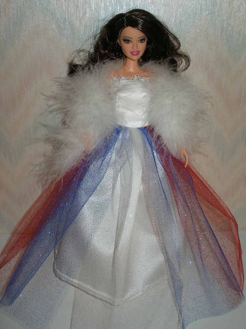 Red, White and Blue Glitter Tulle Gown