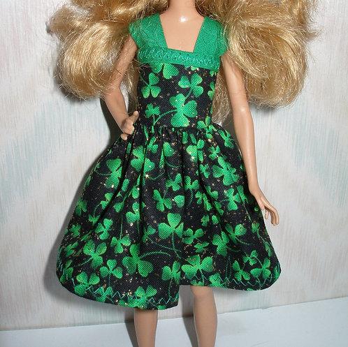 Lottie - Black and Green Shamrock Dress