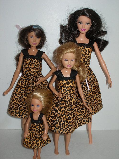 Brown/Black Animal Print Sister Set Dresses