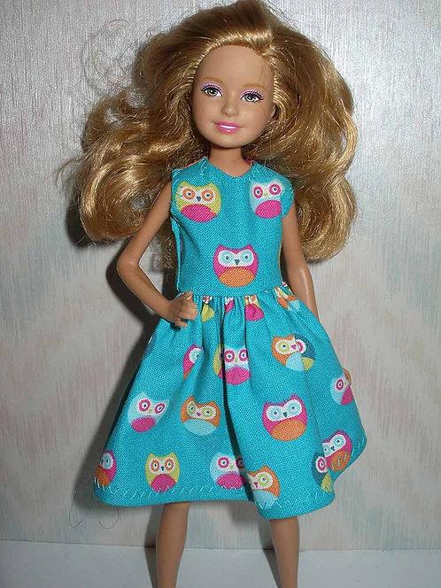 Stacie/Bratz Teal Owl Print Dress