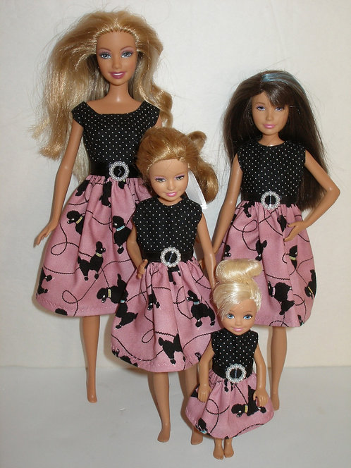 Pink and Black Poodle Dresses - Sister Set