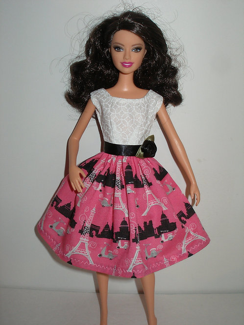 Hot pink, black and white Eiffel Tower Dress
