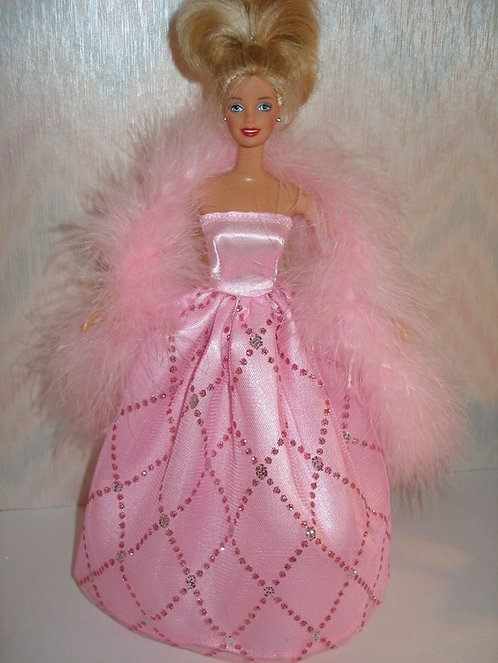 Pink Gown with Boa