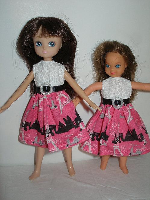 Lottie/Tutti - Pink/White/Black Paris Print Dress