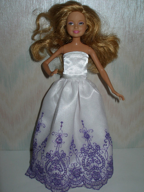 Stacie White Satin and Purple Gown