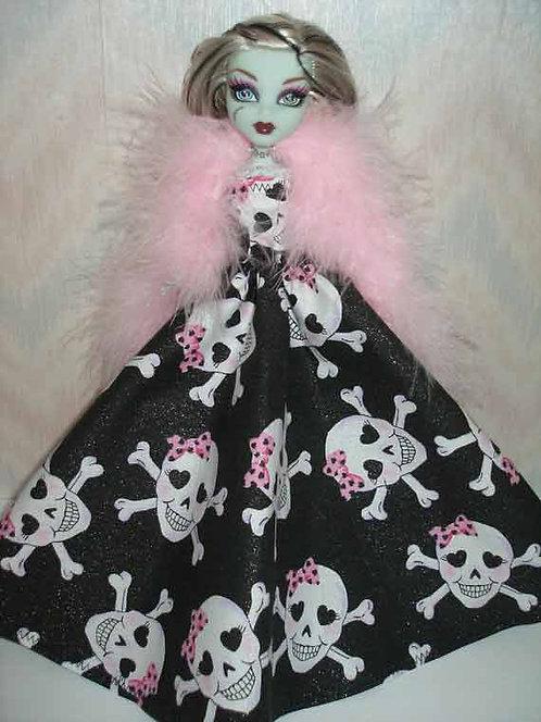 MH Black Skull Print Gown