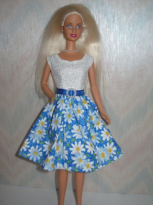Blue and White Daisy Dress w/White Bodice