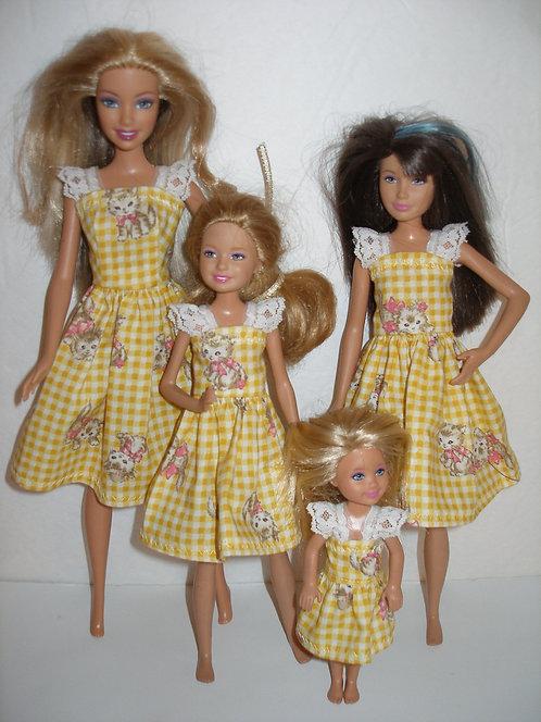 Yellow Plaid Kitten Dresses - Sister Set