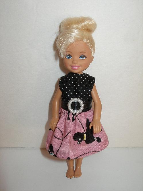 Chelsea - Mauve/Black Poodles Dress