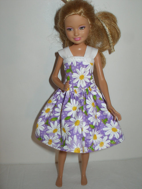 Stacie - Purple and White Daisy Dress