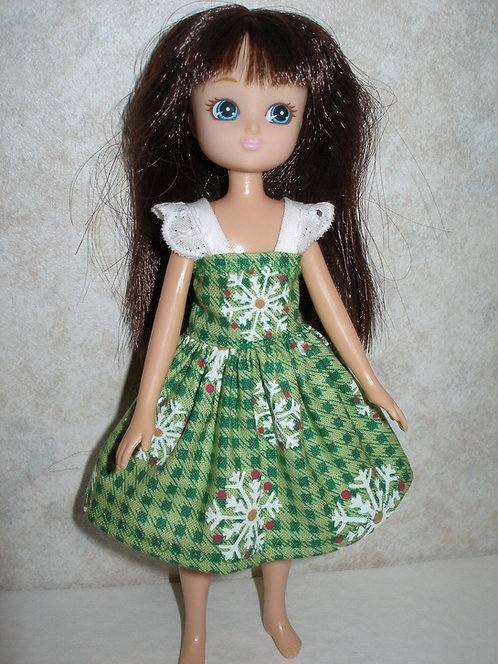 Lottie - Green Christmas Snowflakes Print