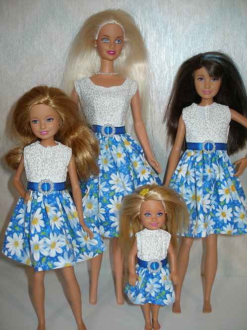 Blue and White Daisy Sister Set