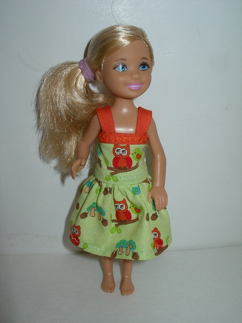Chelsea - Green and Orange Owl Dress w/Straps