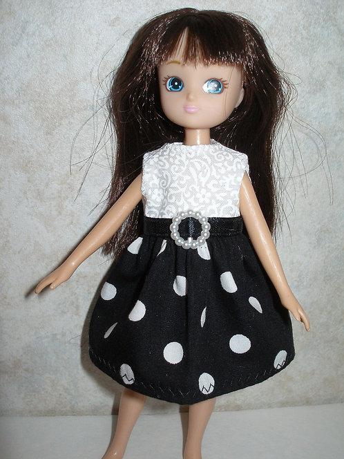 Lottie - White Bodice w/ Black Polka Dot Skirt