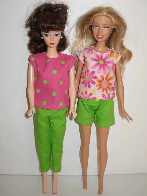 Mix and Match 4 piece pink/green set