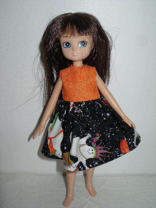 Lottie - Orange/Black Halloween Ghost Dress