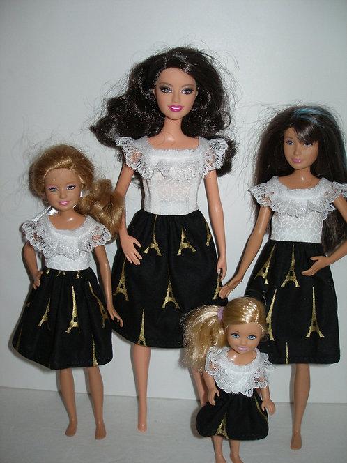 White, Black & Gold Eiffel Tower Sister Set