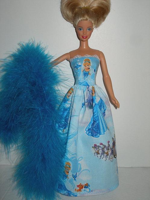Blue Cinderella Print Gown w/Boa