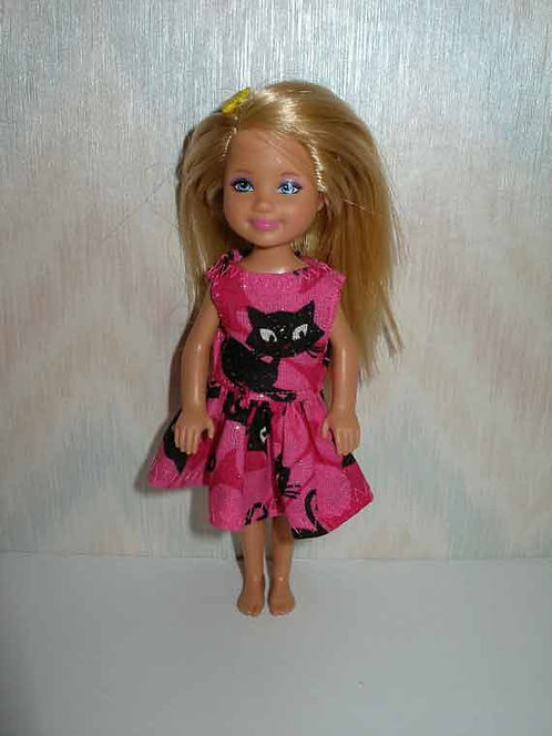 Chelsea Pink and Black Cat Dress