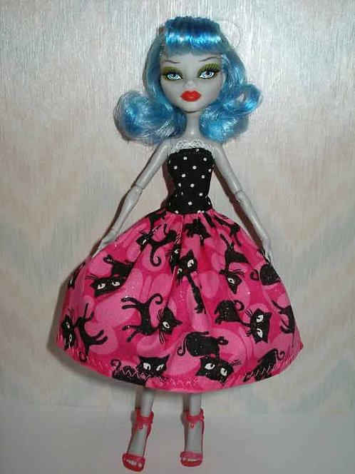 MH & EA Pink and Black Cat Dress