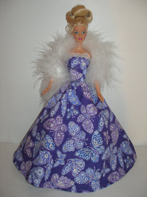 Glittery Turquoise or Purple and Silver Butterfly Gown w/boa
