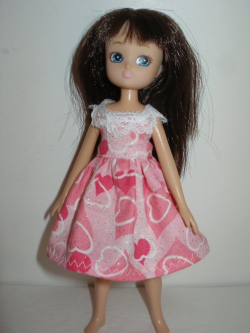 Lottie Pink Glittery Hearts Dress