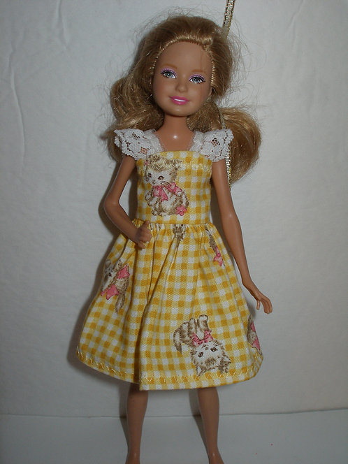 Stacie - Yellow Plaid Kitten Dress