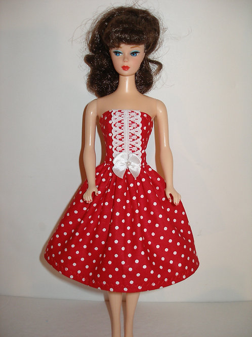 Red and White Polka Dot Dress w/lace & bow