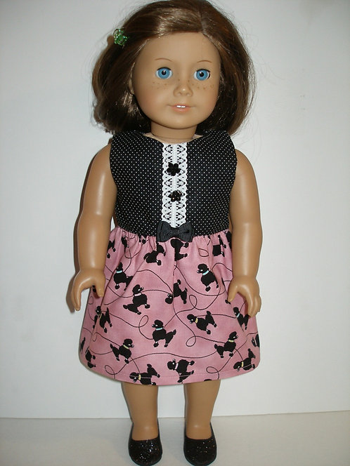 AG Pink and Black Poodles Dress w/shoes
