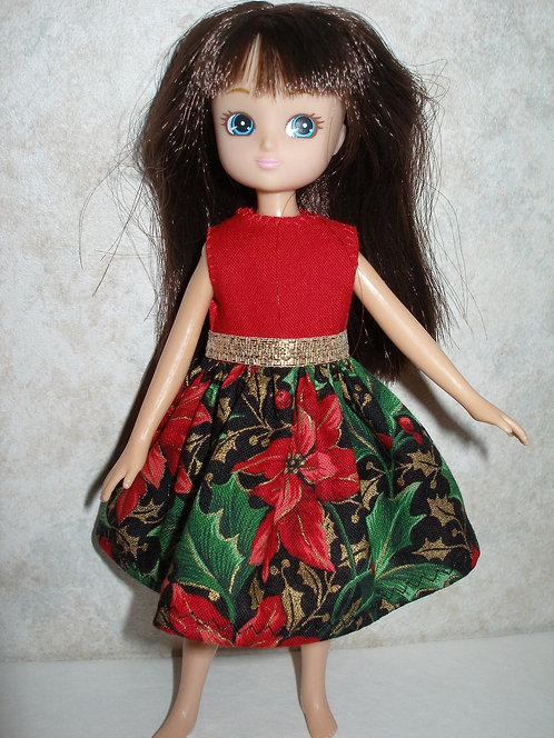 Lottie - Red Poinsettia Holiday Dress