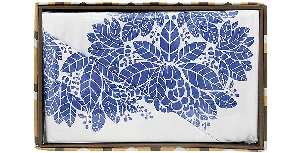 Rankoussi Blue Leaf Pattern - Single Bed Sheet