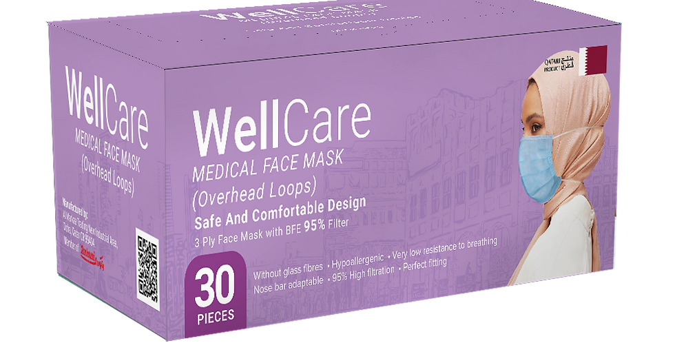 Wellcare Overhead Medical Facemask - 30pcs.